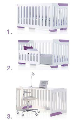 Descubre la transformación de la cuna de bebé EVOLUTIVE 70x140cm: cuna baby + camita junior + escritorio ¡El perfecto 3 en 1! Disponible en color purple, blanco, choco y gris.