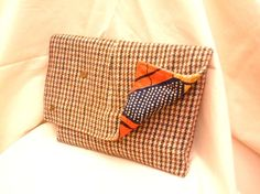 Oversize Vintage Tweed Clutch Bag - Recycled Mens Jacket - Magnets for fastening and Showing off! £35.00