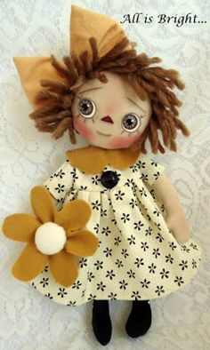 Little Ms. Sunshine Raggedy Ann Doll hand sewn by PatC (Patricia Carreon) of San Antonio / All is Bright