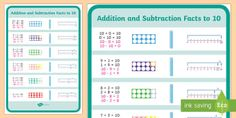 Addition and Subtraction Facts to 10 Display Poster - number bonds to 10, friends of 10, fact families, addition, subtraction, base 10, number line,Austra