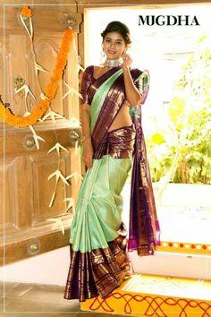 Latest Bridal Saree Designs are Pastel Shades of Kanjeevaram Bridal saree collection. Peach shade sarees, Lilac bridal sarees, Purple kanchipuram sarees, Turquoise Sarees, Mint shade saree designs and many more collection in handloom sarees South Indian Wedding Saree, Indian Bridal Sarees, Wedding Silk Saree, Indian Silk Sarees, Indian Beauty Saree, Latest Silk Sarees, South Indian Sarees, South Indian Weddings, Ethnic Sarees