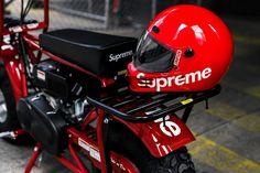A Closer Look at the Supreme x Coleman Mini Bike Releasing Tomorrow Honda Motorbikes, Yamaha 125, Supreme Accessories, Supreme Wallpaper, Mini Bike, Go Kart, Sport Bikes, Football Helmets, Bicycle