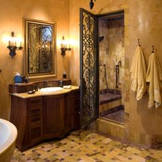 Luxurious Tuscan Bathroom Decor Ideas 72 Tuscan Bathroom Best Images Photos And Pictures Gallery About Tuscan Bathroom Inviting Tuscan Bathroom Design Tuscan Ba Mediterranean Bathroom, Mediterranean Home Decor, Mediterranean Architecture, Dream Bathrooms, Beautiful Bathrooms, Romantic Bathrooms, Chic Bathrooms, Home Design, Interior Design