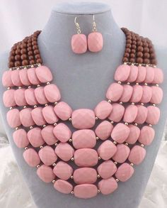 Chunky Layered Pink and Brown Bead Necklace Set Fashion Jewelry NEW #Davinci