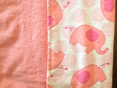 Pink Elephant X-large flannel blanket double by BlessingsandBabies