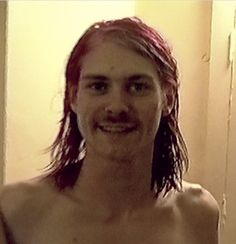 """""""Free mustache rides!"""" (Womb broom) Kurt Cobain with mustache in the bathroom 1992, Montage of Heck"""