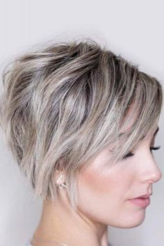 Bob Hairstyles Different Chic Styles For Pixie Bob Haircut Different Chic Styles For Pixie Bob Haircut 1 Prom Hairstyles For Short Hair, Thin Hair Haircuts, Short Pixie Haircuts, Pixie Hairstyles, Hairstyles 2018, Angled Bob Haircuts, Quick Hairstyles, Short Thin Hair, Short Grey Hair