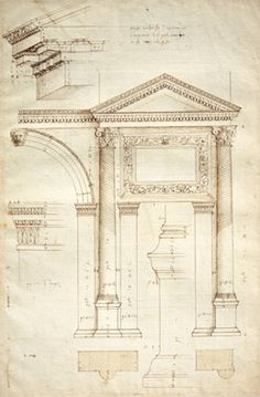 Andrea Palladio, Measured drawing of the Arch of Jupiter, Ammon, Verona, ca. 1540, RIBA Library Drawings and Archives Collections.