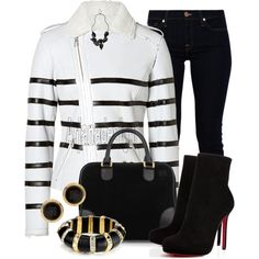 """EACH OTHER Shearing Striped Biker Jacket"" by arjanadesign on Polyvore"