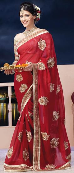 #Red Faux Chiffon #Saree with #Blouse @ US $105.39 | Shop Here: http://www.utsavfashion.com/store/sarees-large.aspx?icode=sxk564