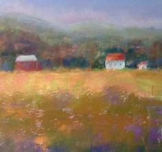 Farm and Barn mini pastel 8x8 by SL Graham