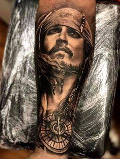 Jack sparrow Pirate Tattoo Sleeve, Nautical Tattoo Sleeve, Wolf Tattoo Sleeve, Sleeve Tattoos, Pirate Tattoo Jack Sparrow, Jack Sparrow Tattoos, Sparrow Tattoo Design, Wolf Tattoo Forearm, Forarm Tattoos