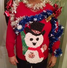 Ugly sweater, Christmas sweater,Ugly Christmas Sweater, sweater, XL woman,Christmas, Christmas clothing, popcorn santa, Vintage santa, Santa by Vintagepetalpushers on Etsy
