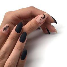 657 imagens sobre nails no We Heart It Halloween Acrylic Nails, Black Acrylic Nails, Almond Acrylic Nails, Best Acrylic Nails, Black Nails, Black Almond Nails, Black Manicure, Black Nail Art, Black Acrylics