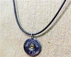 """Shotgun Shell Necklace - 12 Gauge Silver Winchester on 16"""" Black Cord Necklace by Spent Rounds Designs. Handmade and made in the USA! All our products are recycled! They're made from fired ammunition. Shotgun Shell Jewelry 