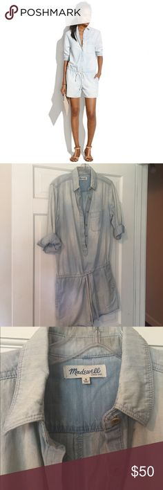 Madwell chambray romper Excellent condition! Cute summer Madewell romper in a light chambray wash. Size M. Accepting offers.  Madewell Pants Jumpsuits & Rompers