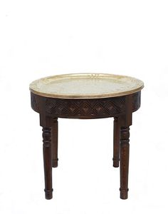Moroccan Wooden Table with Gold Tray