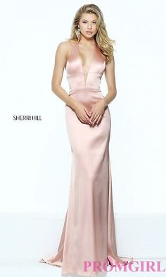 Image of Sherri Hill halter long prom dress with low v-neck. Style: SH-50919 Front Image