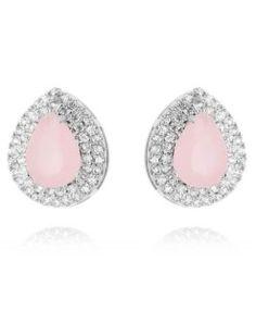 brinco de gotinha com pedra quartzo rosa semi joias de luxo