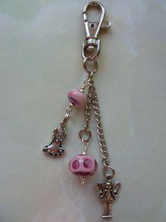 Pink fairy princess handmade bag charm