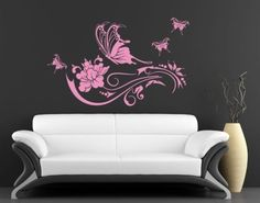 Butterfly-Vine-Wall-Decal-Floral-Wall-Decals-sticker-mural
