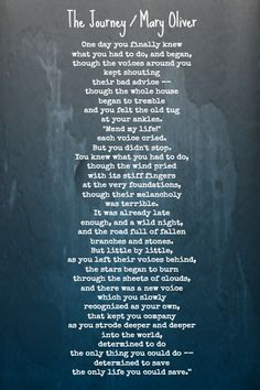the journey - mary oliver . My social worker gave me this poem George Orwell, Friedrich Nietzsche, Poem Quotes, Life Quotes, Cool Words, Wise Words, Mary Oliver Quotes, Poems About Life, Literary Quotes