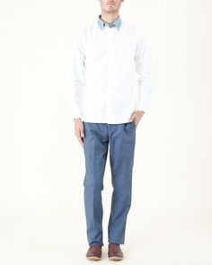Ovadia & Sons Midwood Shirt in White/Denim | #MohawkMan