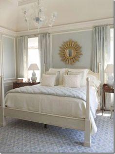 My current inspiration for my current bedroom. Love blue walls (BM glass slipper), the sunburst mirror, white, neutral linens. Jim Howard via www.thingsthatinspire.net
