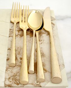 """""""Imperial Caviar"""" Gold-Plated Flatware, Five-Piece Place Setting by Marchesa at Neiman Marcus."""