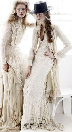 Romantic Boho - long crocheted dresses with lightweight layers for a dreamy vintage vibe // Ralph Lauren