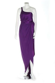 Kerry Taylor Auctions Halston deep purple satin gown, late 1980s.
