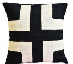 Applique Geometric Black Ivory Burlap Pillow Cushion Cover For Modern Decor