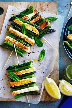 Char-Grilled Asparagus + Halloumi With Mint + Lemon.