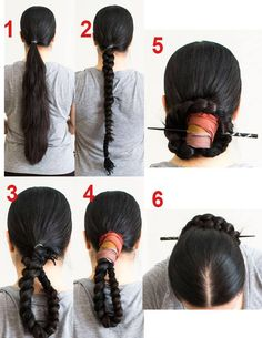 Joseon bun. If your hair isn't this long, note that the model is using a paranda to add length and thickness.