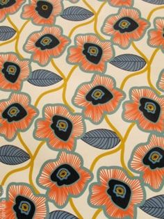 Poppies ... I would love to paint a wall with this pattern.