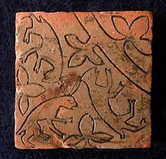 Triskele hares - medieval floor tile excavated from the Nave at Chester Cathedral, England.