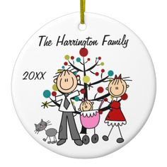 Shop Custom Family Parents, Baby Girl, Cat Ornament created by christmasshop. Penguin Ornaments, Bird Ornaments, Holiday Ornaments, Christmas Decorations, First Christmas Together Ornament, Babies First Christmas, 1st Christmas, Stick Figure Drawing, Stick Family