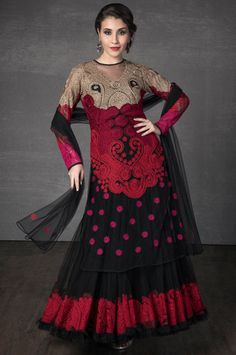Net two layer kurta embellished with resham aari work with net dupatta