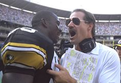 LB Greg Lloyd and Coach Bill Cowher having a discussion on the sideline. Bill Cowher, Greg Lloyd, Super Bowl Rings, Go Steelers, Nfl History, Steeler Nation, New Orleans Saints, National Football League, Pittsburgh Steelers