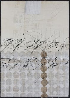 Brody Neuenschwander (calligrapher and text artist)  East/West Dictionary  2008Collage  of rice paper, old book parts and documents with whitewash on Rives BFK  printmaking paper; Chinese ink.
