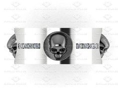 'Luna De Saturno' 0.15ct Natural White Diamond Mens Sterling Silver Skull Wedding Band