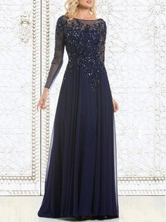 2017 Top Selling Elegant Navy Blue Mother of The Bride Dresses Chiffon See Through Long Sleeve Sheer Neck Appliques Sequins