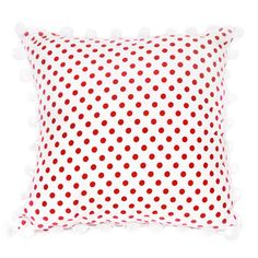 Red & White Polka cushion with pom-pom Little Girl Rooms, Little Girls, Red Rooms, Red And White, Polka Dots, Cushions, Blanket, Inspiration, Throw Pillows