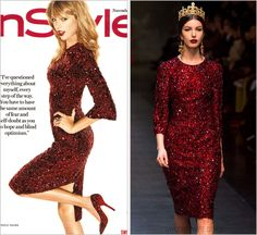 InStyle magazine   November 2013 Dolce & Gabbana Fall 2013 RTW Taylor's sleeves on this D&G bejeweled blood red dress were turned into bell sleeves. Fit for a queen. Her matching shoes are also from...