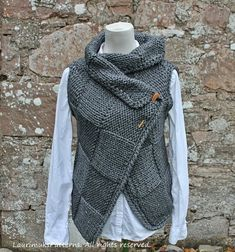 Knitting PATTERN-Big square wrap, womens sleeveless jacket pattern, cardigan pattern – Knitting pattern Big Square Wrap is full of sumptuous texture and cosy comfort. Features big squares of different stitch, is knit sideways,. Cardigan Pattern, Jacket Pattern, Crochet Shawl, Knit Crochet, Crochet Cardigan, Crochet Edgings, Crochet Squares, Crochet Gifts, Super Bulky Yarn