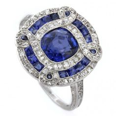 An Art Deco sapphire and diamond ring, circa 1920...I would want this as my wedding ring