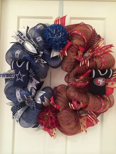 Kathy's Kreations LLC Football Wreath! Half 49ers Half Cowboys! https://m.facebook.com/KathysKreationsLLC