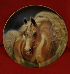 """DANBURY MINT GOLDEN LIGHTS """"NOBLE AND FREE"""" HORSE PLATE NUMBERED PERFECT COND"""