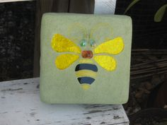 Made by my friend, Mary.  Stained Glass Mosaic Bumble Bee Garden Stone by WingersGardenArt, $20.00