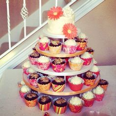 Gerbera Daisy Wedding Cupcake Tower by Sweet For Sirten, via Flickr.